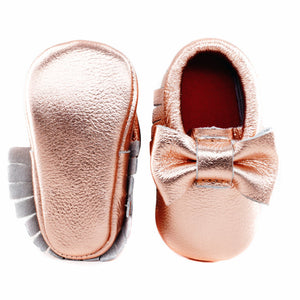 Jewel-inspired bow moccs babies toddlers kids brilliant gemstone colours feminine bow shoes moccasins rose gold