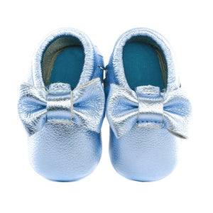 Jewel-inspired bow moccs babies toddlers kids brilliant gemstone colours feminine bow shoes moccasins aqua blue