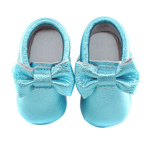 Jewel-inspired bow moccs babies toddlers kids brilliant gemstone colours feminine bow shoes moccasins