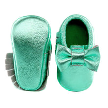 Jewel-inspired bow moccs babies toddlers kids brilliant gemstone colours feminine bow shoes moccasins green