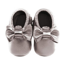 Jewel-inspired bow moccs babies toddlers kids brilliant gemstone colours feminine bow shoes moccasins grey
