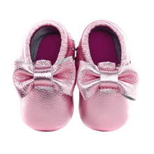 Jewel-inspired bow moccs babies toddlers kids brilliant gemstone colours feminine bow shoes moccasins pink