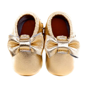 Jewel-inspired bow moccs babies toddlers kids brilliant gemstone colours feminine bow shoes moccasins gold