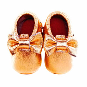 Jewel-inspired bow moccs babies toddlers kids brilliant gemstone colours feminine bow shoes moccasins copper