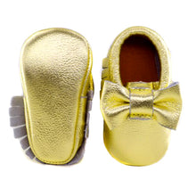 Jewel-inspired bow moccs babies toddlers kids brilliant gemstone colours feminine bow shoes moccasins yellow gold