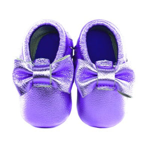 Jewel-inspired bow moccs babies toddlers kids brilliant gemstone colours feminine bow shoes moccasins purple