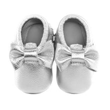 Jewel-inspired bow moccs babies toddlers kids brilliant gemstone colours feminine bow shoes moccasins silver