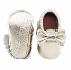 Jewel-inspired bow moccs babies toddlers kids brilliant gemstone colours feminine bow shoes moccasins soft gold