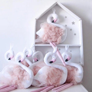 Majestic swan flamingo princess doll stuffed animal crown soft fluffy tulle 'feathers' playroom nursery cute kids room