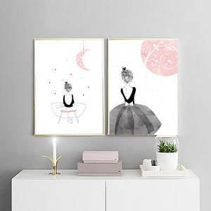 Watercolour canvas wall art graceful femininity enchantment calming colours and whimsical ballerina for nursery kids room decor