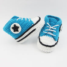 High top baby shoes with laces crochet handmade knit teal blue bootie sport shoes runners basketball shoes