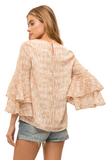ROMANTIC DOUBLE BELL SLEEVES SEMI SHEER TOP