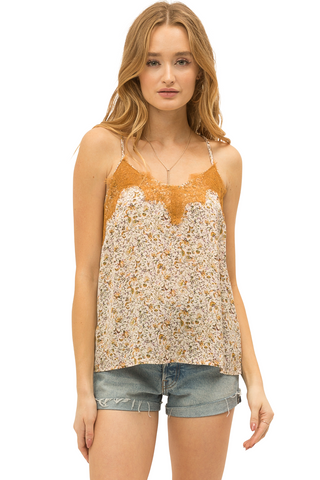 LACE DETAIL FLORAL SATIN CAMI TOP