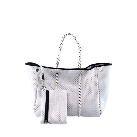 SILVER/WHITE TOTE BAG
