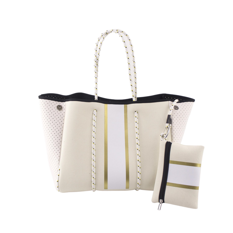 WHITE/NEUTRAL WITH GOLD STRIPE TOTE BAG