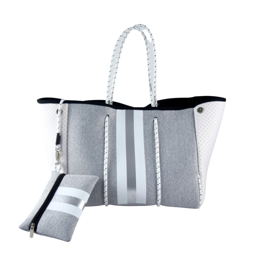 GREY/WHITE WITH SILVER STIPE TOTE BAG