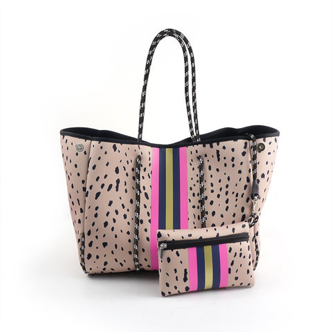 LEOPARD PRINT WITH NAVY/GOLD/PINK STIPE TOTE BAG