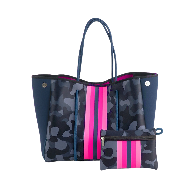 CAMO WITH PINK STRIPE TOTE BAG