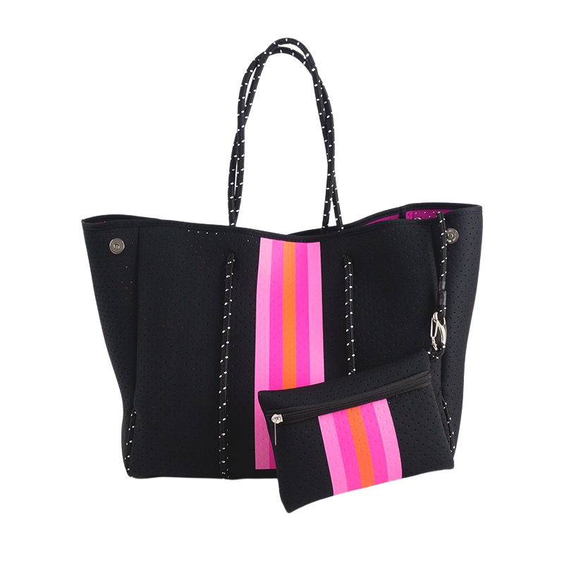 BLACK WITH PINK & ORANGE STRIPE TOTE BAG