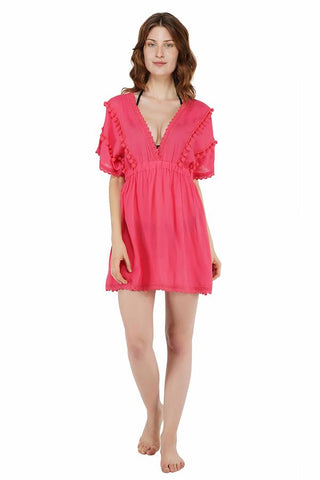 POPPY PINK POM POM MINI DRESS