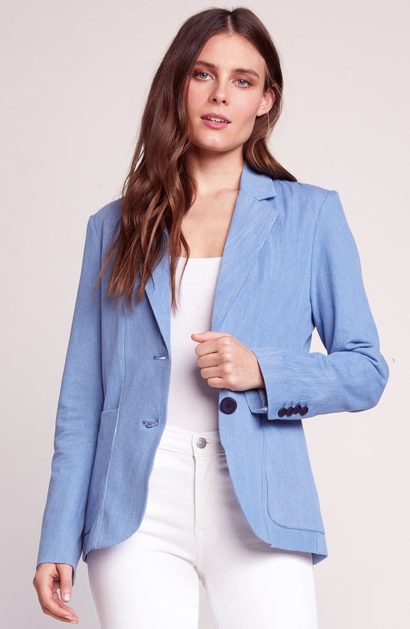 Womens Chambray Feel It In The Rain Blazer