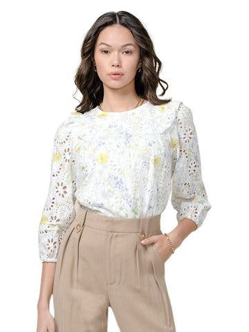 CELESTINE EMBROIDERED EYELET BLOUSE
