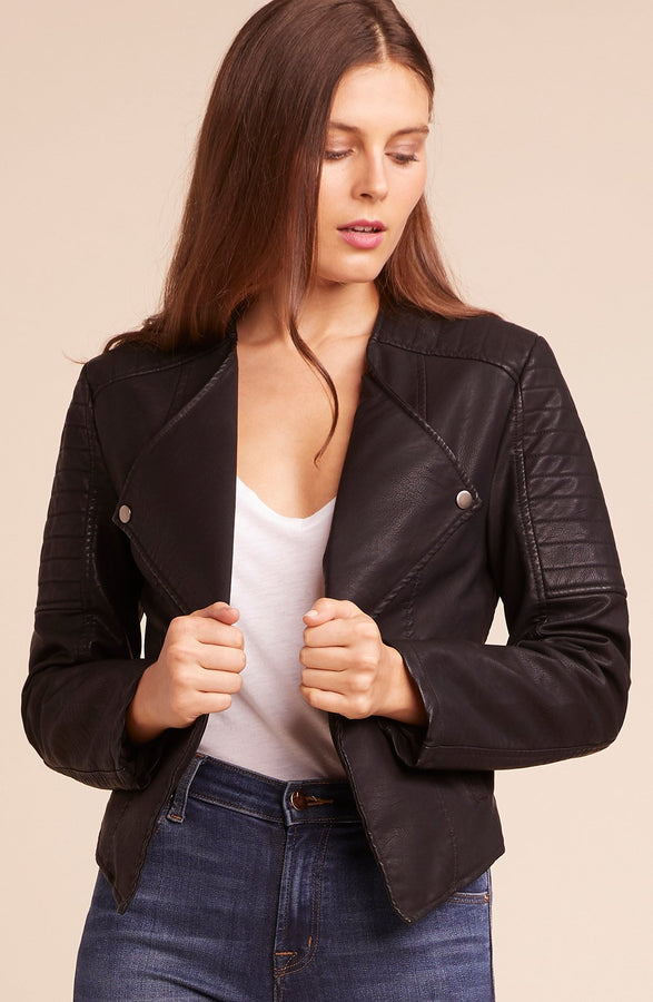 Womens Black One More Time Vegan Jacket