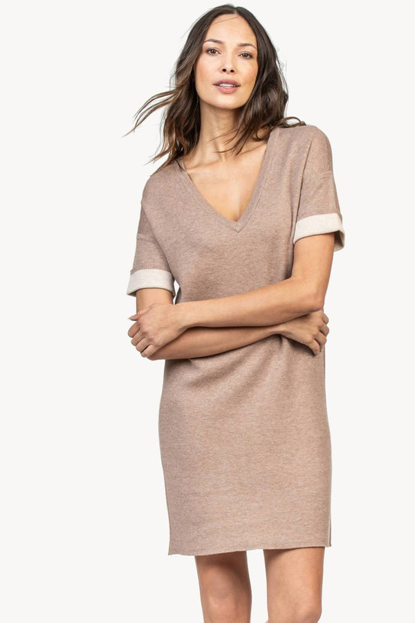 REVERSIBLE V-NECK SWEATER DRESS