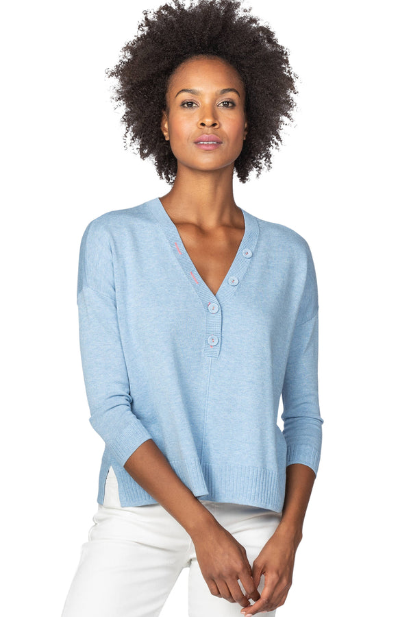 OVERSIZED BUTTON HENLEY SWEATER