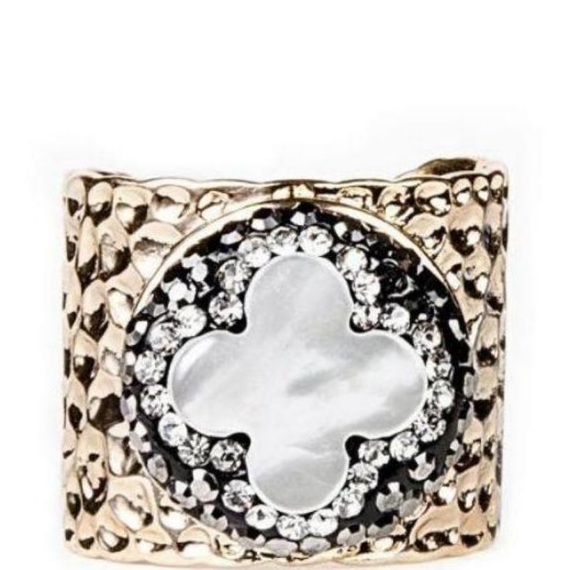 PAVE TRIMMED MOTHER OF PEARL QUATREFOIL CUFF RING