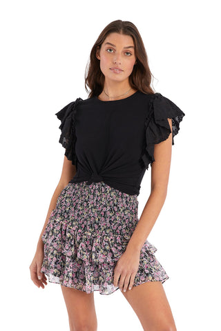 FLORAL SMOCKED MINI SKIRT