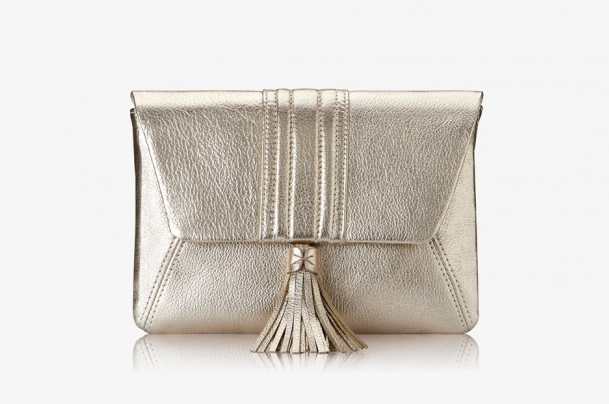 AVA CLUTCH-WHITE GOLD