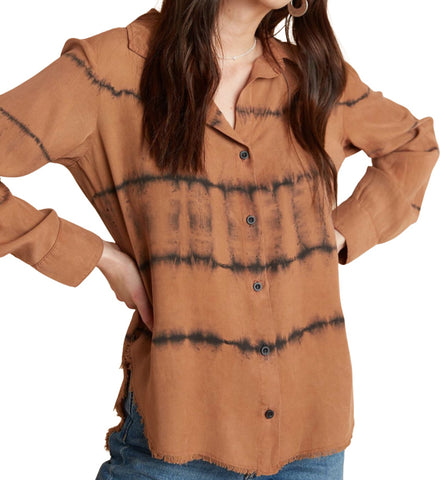FRAY HEM FLOY BUTTON DOWN- COPPER