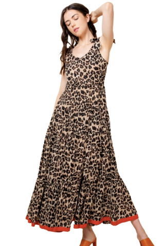 LEOPARD TIE STRAP DRESS
