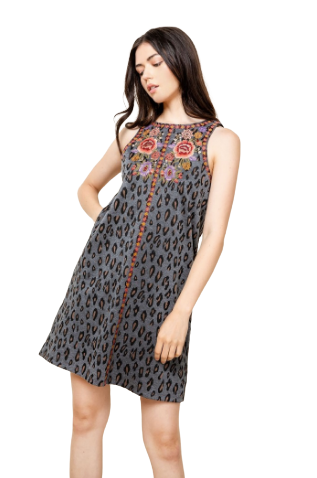 CHEETAH EMBROIDERED SLEEVELESS DRESS