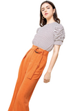 RUCHED SLEEVE STRIPE TOP