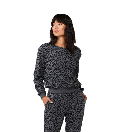 CHRYSANTHA GREY LEOPARD LOUNGE TOP