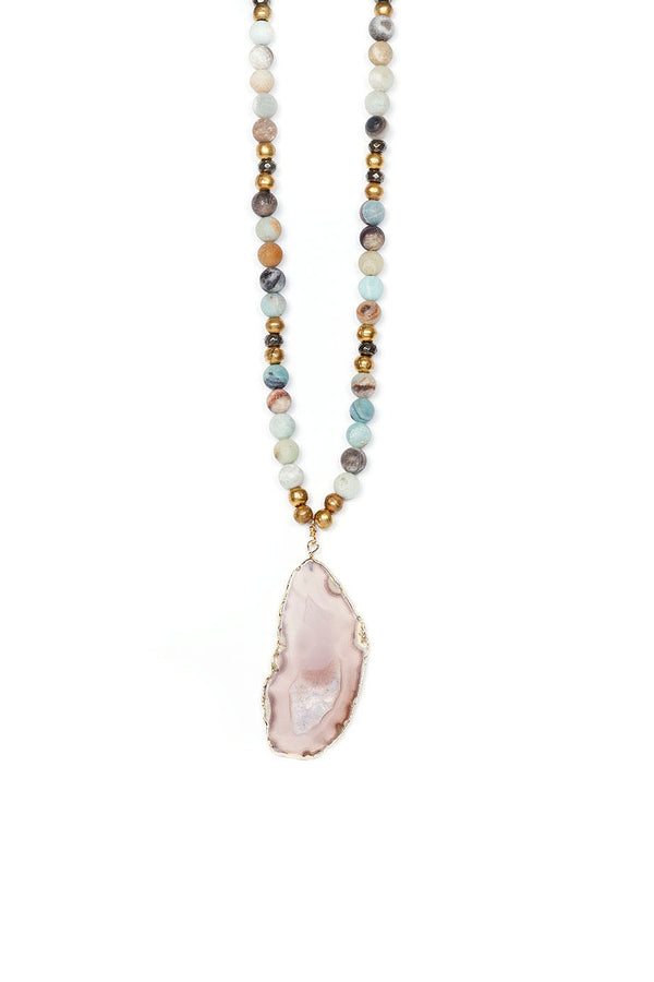 Natural Agate Slice Pendant On Matte Amazonite and Ethiopian Brass Beads