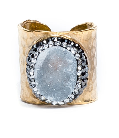 Pave Trimmed Druzy Cuff Ring