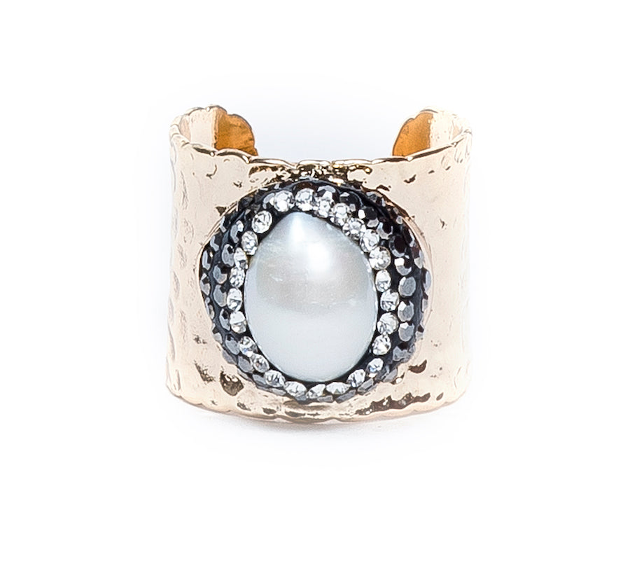 Pave Trimmed Mother Of Pearl Gold Cuff Ring