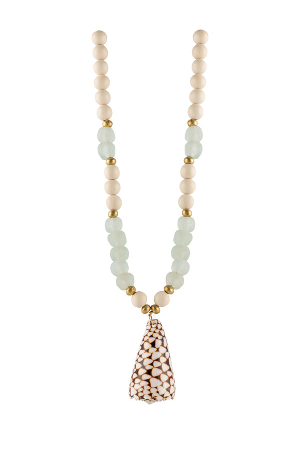 Cone Sea Shell Pendant Necklace On Seaglass and Wood Beads