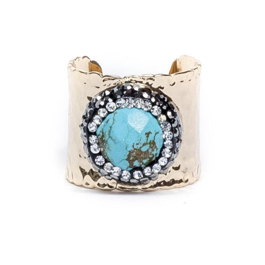 Pave Trimmed Turqoise Cuff Ring