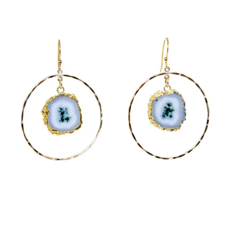 Gold Fill Hoops with Stalactite Stones