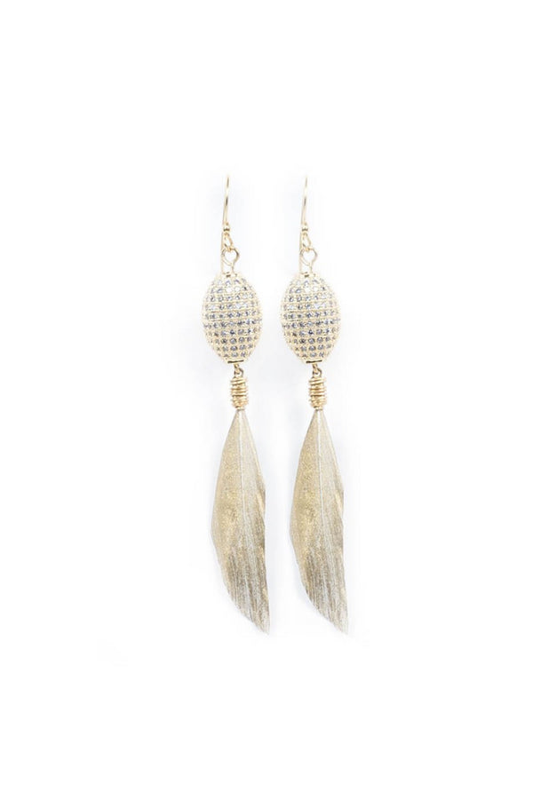 GOLD DIPPED FEATHER EARRINGS WITH PAVE RHINESTONE BEADS