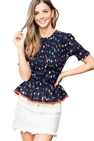 CONFETTI PRINT SMOCKED TOP