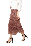 LAYER RUFFEL PRINT SKIRT