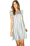 STRIPE EMBROIDERED RUFFLE SLEEVE DRESS