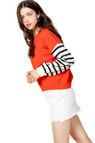 DROP SHOULDER STRIPE SLEEVE SWEATER TOP
