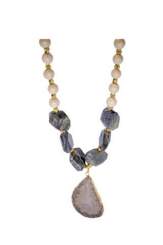 RIVERSTONE LABRADORITE AND AGATE PENDANT