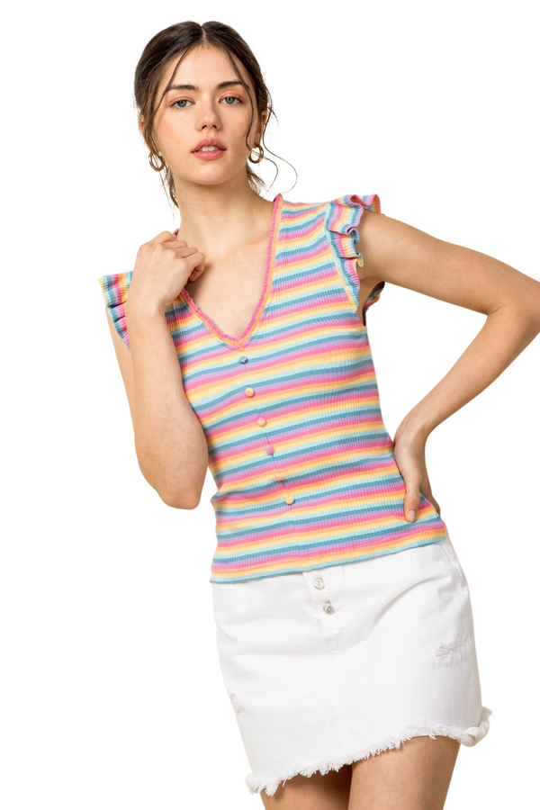 STRIPE RAINBOW RUFFLE SLEEVE TOP